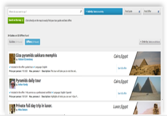 How to search for offers and guides in Guidexplorer